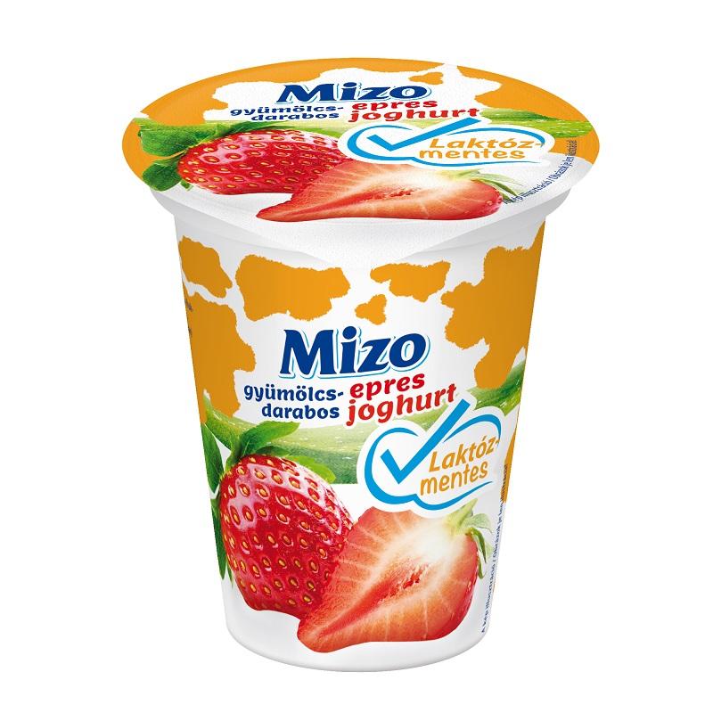MIZO Laktozmentes gyumolcsjoghurt epres gyumolcsdarabos 150g
